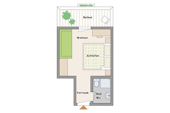 Grundriss - Zimmer Altholz Fichte