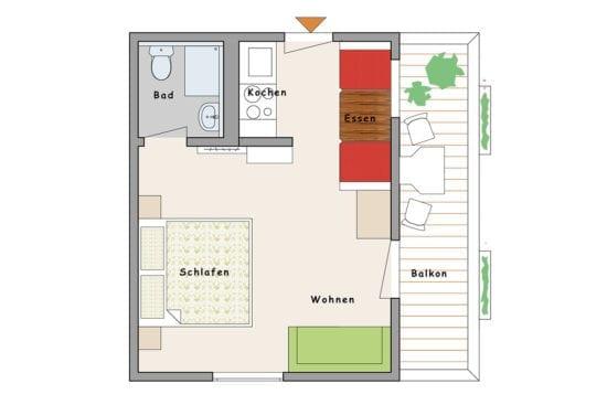 Grundriss - Zimmer Zirberl